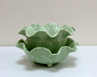 Shawnee Cameo Line Pair Pastel Mint Green Flower Vase Bowl Dish 2507 2503