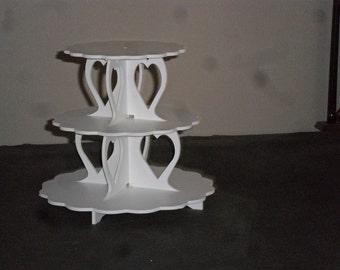 3 Tier Cupcake Stand Round or Scallop Heart Cupcake Stand cup cake Stand Cupcake Tower Reusable Birthday Wedding, Holiday, desert stand