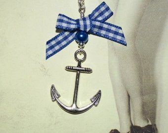 Rockabilly Anchor Necklace, Blue Gingham Bow, Retro Anchor Necklace, Rockabilly Jewelry, Anchor with Bow, Sailor Style, Blue Anchor Necklace