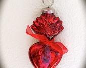 """Ex Voto 5"""" Mercury Glass SACRED HEART Santos Adornment for your Religious Statue"""
