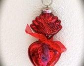 "Sale- Valentine  Ex Voto 5"" Mercury Glass SACRED HEART Santos Adornment for your Religious Statue"