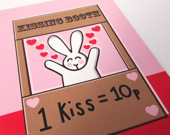 Cute Bunny Kissing Booth Blank Greeting Card