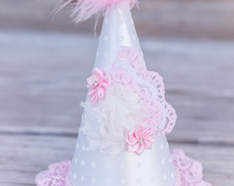 First Birthday Hat - Shabby Chic Style Party Hat - Photography Prop - Birthday Hat  - Baby Top Hat