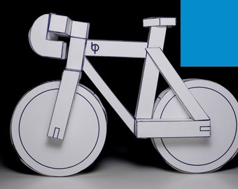 BLUE paperbikes v2 - fixed gear paper bike - papercraft bicycle model kit