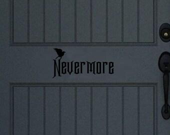 Nevermore Door Decal | Raven Door Decal | Halloween Decor | Fall Decor | Front Door Decor | 22466