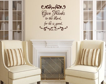 Give Thanks to the Lord Christian Thanksgiving Wall Decal -  Christian Decor  Thanksgiving Wall Decor 22479