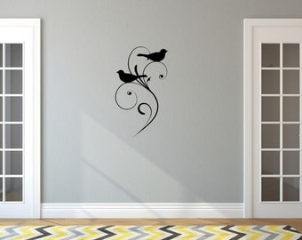 Birds with Swirls Vinyl Wall Decal - Vine Wall Decal - Bird Wall Decal 22485