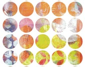 Mono Print Mixed Media Stickers 4 - Round