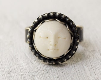 Boho Sterling Silver Moon Face Ring - Hand Carved Bone - Goddess Jewelry - Metalwork Jewelry - Bohemian Jewelry - Boho - Mothers Day