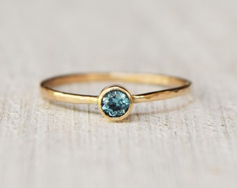 Solid 14 Karat Gold Ring - Swiss Blue Topaz - Delicate Jewelry - Skinny Ring - Petite Ring - Heirloom Jewelry - December Birthstone