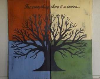 Four Seasons Tree Painting, Tree of Life Wall Art