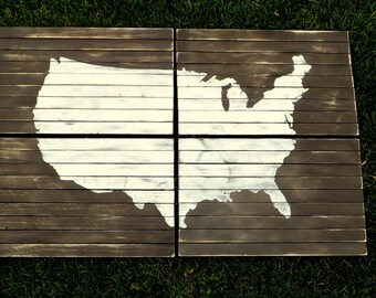 Planked Panel Art Map of US, USA Map Wall Art, Wood Planked Art, Wood Plank Art