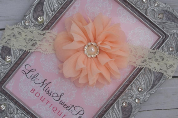 Peach Blossom on Ivory Lace makes up this pretty flower headband for weddings, newborn babies, toddlers teens or adults
