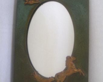 Vintage Mirror, Copper,Patina,Eagle,Horse,Home Decor.