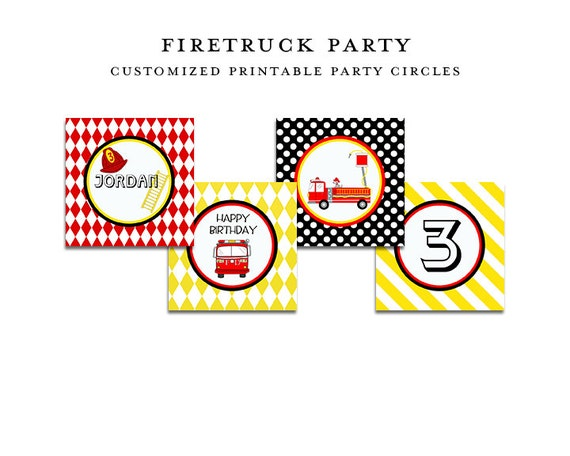 FIRE TRUCK birthday, Printable Party CIRCLES, Cupcake Toppers