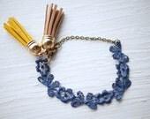 Navy Lace and Tassel Bracelet
