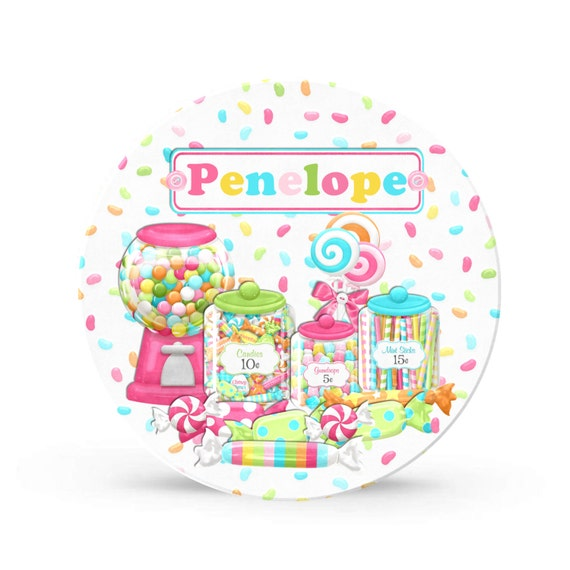 Kids Personalized Candy Plate - Sweet Shoppe Party Melamine Plate for Girls - Personalized Plastic 10 inch Plate  - Plastic Plate for Kids