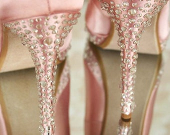 Wedding Shoes -- Antique Pink Closed Toe Platform Wedding Shoes with Silver Multi-Sized Crystal Covered Heel
