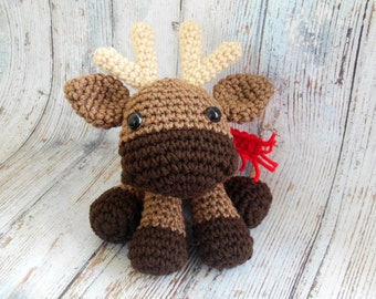 Crochet Moose Amigurumi, Moose Soft Toy, Stuffed Moose, Christmas Animal Amigurumi, Crocheted Amigurumi Moose, Woodland Animal Plushie