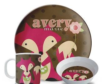 Personalized Melamine Plate Set, Children's Fox Melamine Plate, Bowl, Mug Set, Personalized Fox Birthday Plate Set