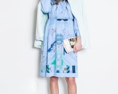 Japan Dress Vintage S// 60s Dress// Tangram and Star Dress// Pleated Blush Blue Japan