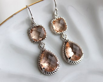 Blush Champagne Earrings Peach Pink Silver Earrings Teardrop Glass Two Tier - Bridesmaid Earrings Wedding Earrings Bridesmaid Jewelry