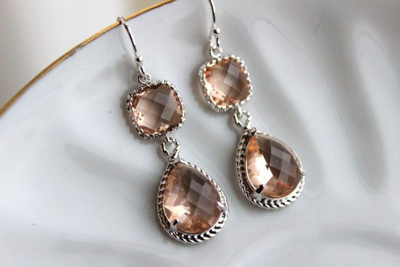 Blush Champagne Earrings Peach Pink Silver Earrings Teardrop Glass Two Tier - Bridesmaid Earrings Wedding Earrings Bridesmaid Jewelry