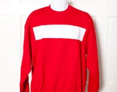 Vintage 80s Bright Red Sweatshirt - White Chest Stripe - XL