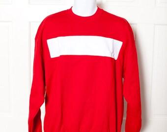 Vintage 80s Bright Red Sweatshirt - White Chest Stripe - XL