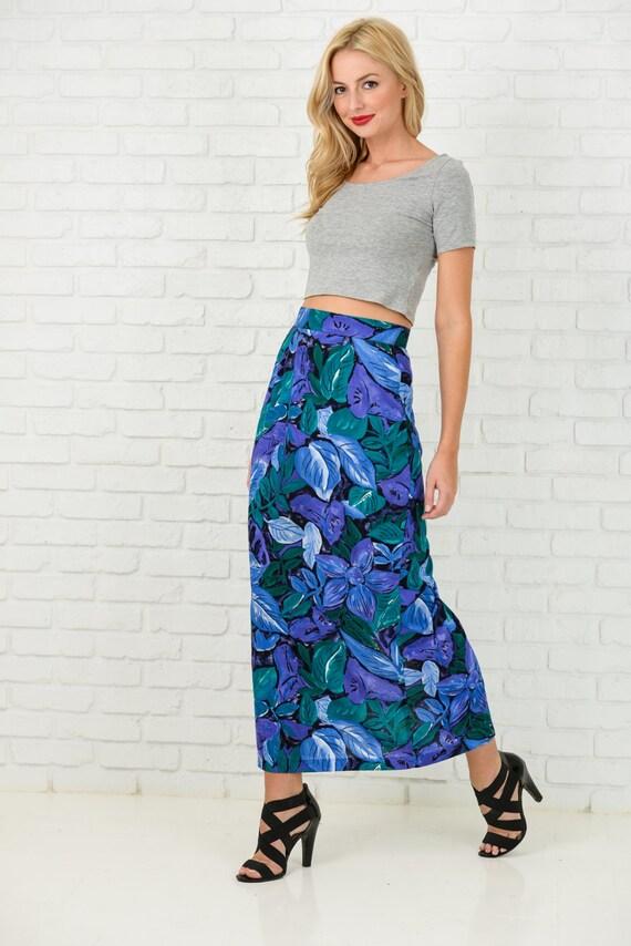 Vintage 80s Black + Purple Retro Skirt High Waist Floral Leaf Print Midi Small S 3368