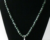 Seraphinite necklace for ladies with sterling daisies 18""