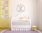 Monogram Sticker -  Name Wall Decal - Personalized Monogram Wall Decal - Baby Giril Nursery