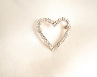 vintage heart-shaped rhinestone pin