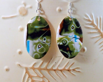 Whimsical Oval Shaped Polymer Clay Earrings