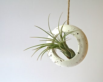 Handmade small  white round hanging O-planter. Terrarium, rustic home decor, air plant, hanging contemporary planter.