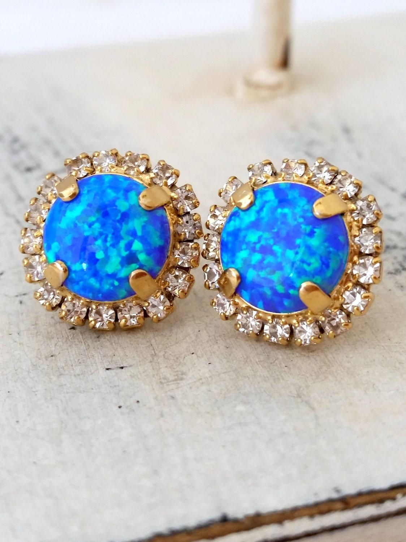 opal earrings blue green mint opal stud earrings blue opal. Black Bedroom Furniture Sets. Home Design Ideas