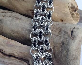 Silver and Black Byzantine Filigree Bracelet - Ready to Ship