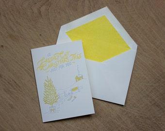 Freshly Cut Christmas Tree Letterpress Christmas Card