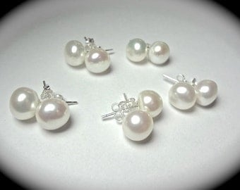 Pearl stud earrings - Freshwater - AA - 8-9mm - Sterling Silver - Studs- Bridal jewelry - Bridesmaids - Flower girl - gift - Bridal jewelry