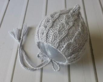 Newborn Grey Lace Pixie Knit Bonnet - Ready to Ship Newborn Photography Prop, RTS
