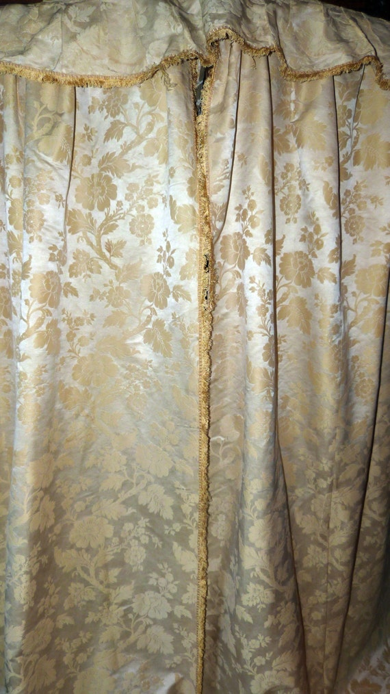 Antique French Pair Of Silk Brocade Floral Window Curtains