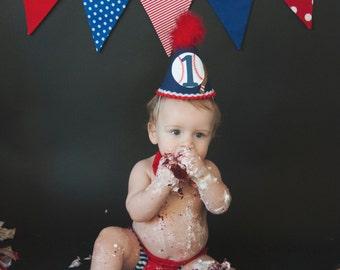 Little Slugger 1st Birthday Hat Baseball Themed Cake Smash Birthday Photo Shoot Party Hat Red White and Blue