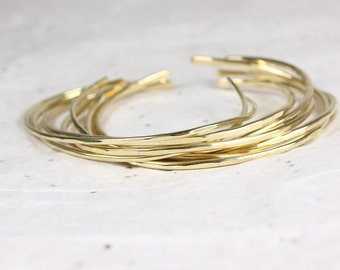 Stacking Bracelets - Silver or Jewelers Brass - Hammered Cuff