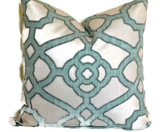 Aqua and White Trellis Decorative Pillow Cover, 18x18 20x20 or 14x20 Lumbar Pillow, Throw Pillow, Accent Pillow, Toss Pillow Celtic Knot
