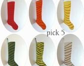 5 Christmas Stockings - FIVE SWOOSH Stockings - Striped, Scandinavian, Marimekko - for a Boy or Girl - Xmas Holiday Decor - Pick Your Colors