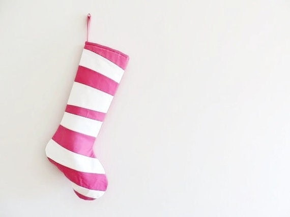 Pink Personalized Christmas Stocking Personalized Stocking, Kids Stockings Family Stockings, Modern Striped Girl Holiday Decoration Dr Seuss