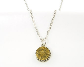 Small Gold Druzy Necklace, Silver Gold Druzy Necklace, Crown Set Necklace, Gold Drusy Gemstone Necklace |NC1-6