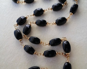 """ID Lanyard, Name-tag Holder, Necklace.  Large Black beads.  32"""" with 5"""" detachable Clasp."""
