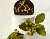 Personalized Rustic Cake Topper, Burned Wood Buck and Doe carved with your custom letters