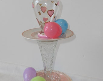 Pink and Crystal Topiary, centerpiece, vase, jewelry, candy dish